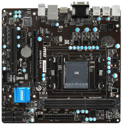 Материнская плата MSI A88XM-E35 V2 Socket FM2 AMD A88X 2xDDR3 1xPCI-E 16x 1xPCI-E 1x 1xPCI 6xSATAIII 7.1 Sound VGA DVI HDMI USB 3.0 Glan mATX Retail