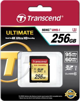 Карта памяти SDXC 256GB Class 10 Transcend TS256GSDU3