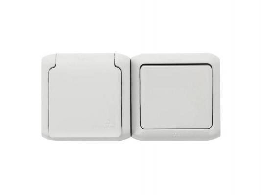 Выключатель Legrand Quteo 1-клавишный серый + розетка с заземлением и защитными шторками 782348