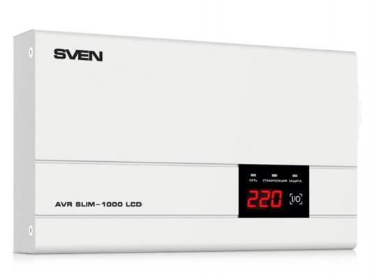 Стабилизатор напряжения Sven AVR SLIM-1000 LCD серый 1 розетка стабилизатор напряжения defender avr initial 1000