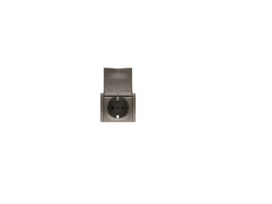 Лицевая панель Legrand G.Life для розетки 2К+З с крышкой темная бронза 771222