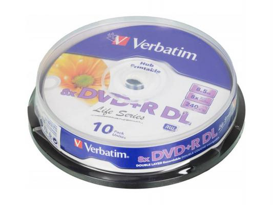 Диски DVD+R Verbatim 8x 8.5Gb Cake Box Double Layer 10шт 43818