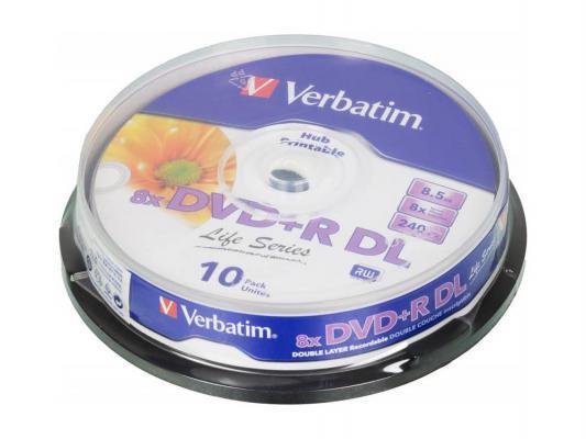 Диски DVD+R Verbatim 8x 8.5Gb Cake Box Double Layer 10шт 43818