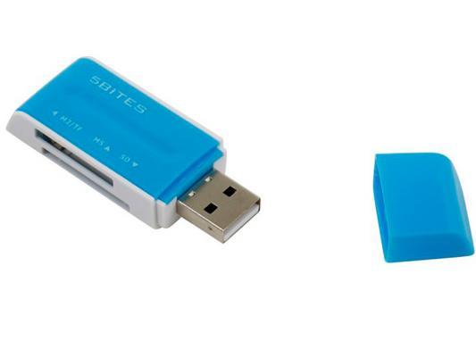 Картридер внешний 5bites RE2-102BL USB2.0 ext all-in-1 синий