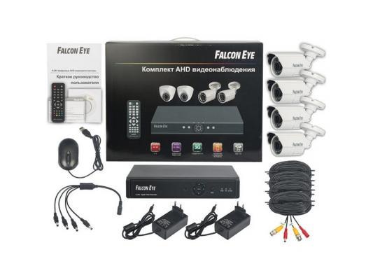 Комплект видеонаблюдения Falcon Eye FE-104AHD-KIT Дача 4 уличные камеры 4-х канальный видеорегистратор установочный комплект