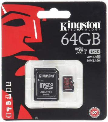 Карта памяти Micro SDXC 64GB Class 10 Kingston SDCA3/64GB + адаптер sdxc kingston 64gb class10 g2 video sd10vg2 64gb