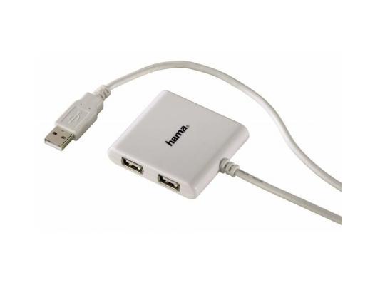 Концентратор USB Hama Square 39874 4 порта белый usb концентратор hama square 12190 черный 00012190