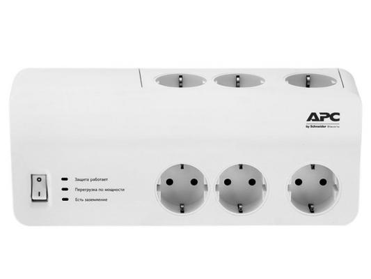 Сетевой фильтр APC PM6-RS белый 6 розеток 2 м сетевой фильтр apc pm8 rs белый 8 розеток 2 м