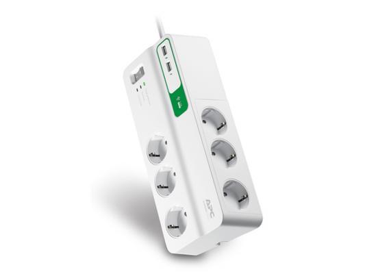 Сетевой фильтр APC PM6U-RS белый 6 розеток 2 м сетевой фильтр apc pmh63vt rs 6 розеток 2 4 м белый