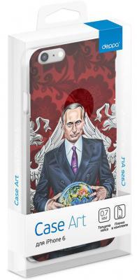 Чехол (клип-кейс) Deppa Art Case Person Путин карта мира для iPhone 6 красный 100007