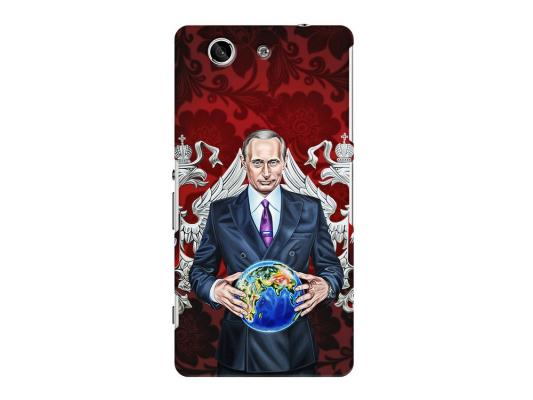 Чехол Deppa Art Case и защитная пленка для Sony Xperia Z3 Compact, Person_Путин карта мира, стоимость
