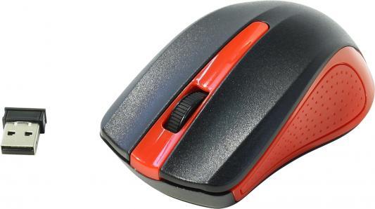 лучшая цена Мышь беспроводная Oklick 485MW чёрный красный USB