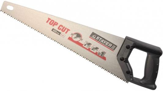 Ножовка Stayer Top Cut по дереву закаленный зуб пластиковая ручка 1510-50 ножовка по дереву для стусла runex angle 300мм ударный зуб 13 577405