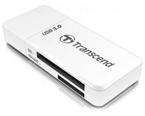 Картридер внешний Transcend TS-RDF5W USB3.0 SDHC/SDXC/microSDHC/microSDXC белый картридер внешний transcend ts rdp5w sd sdhc mmc microsdhc m2 белый