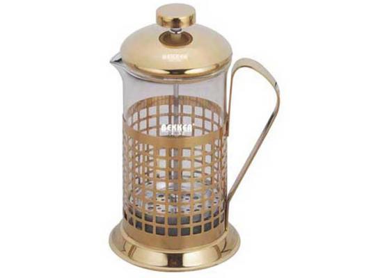 Френч-пресс Bekker BK-365 золотистый прозрачный 0.6 л металл/стекло
