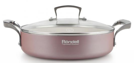 Сотейник Rondel Rosso RDA-545 26см стеклянная крышка штампованный алюминий розовый