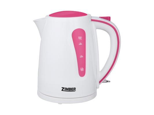 Чайник Zimber ZM-10845 2200 Вт 1.7 л пластик белый розовый чайник zimber zm 11104 2200 вт 1 7 л пластик белый серый