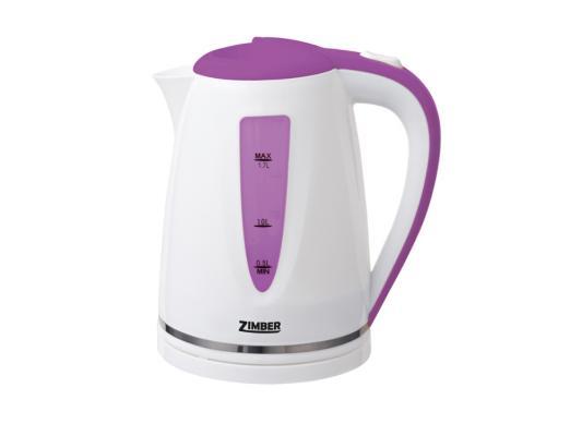 Чайник Zimber ZM-10851 2200 Вт 1.7 л пластик белый сиреневый чайник zimber zm 11104 2200 вт 1 7 л пластик белый серый