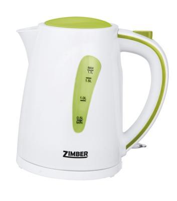 Чайник Zimber ZM-10838 2200 Вт 1.7 л пластик белый зелёный сковорода вок d 30 см oursson pallete rock pw3003p iv