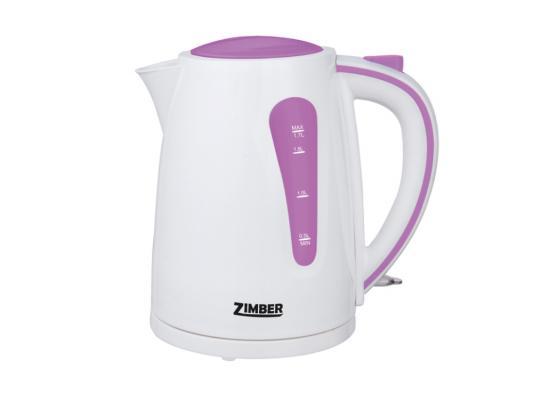 Чайник Zimber ZM-10843 2200 Вт 1.7 л пластик белый сиреневый чайник zimber zm 11104 2200 вт 1 7 л пластик белый серый