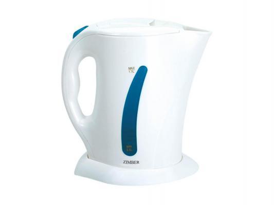 Чайник Zimber ZM-10001 2200Вт 1.7л пластик бело-синий 2200 Вт 1.7 л пластик белый синий