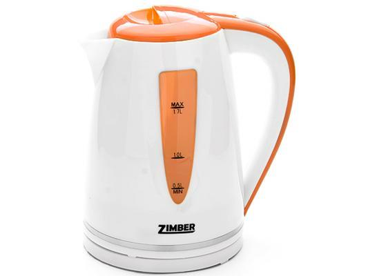 Чайник Zimber ZM-10852 2200 Вт белый оранжевый 1.7 л пластик цена и фото