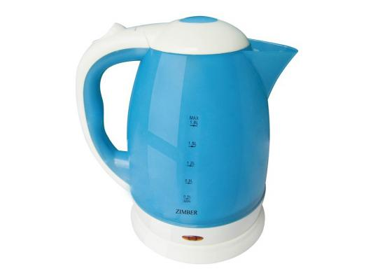 Чайник Zimber ZM-10702 2200 Вт 1.8 л пластик белый синий чайник zimber zm 10845 2200 вт 1 7 л пластик белый розовый