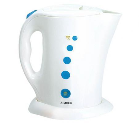 Чайник Zimber ZM-10000 2200Вт 1.7л пластик бело-синий 2200 Вт белый синий 1.7 л пластик