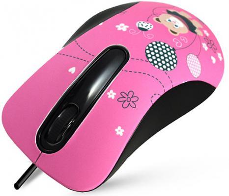 Мышь проводная Crown CMM-30 bear чёрный розовый USB