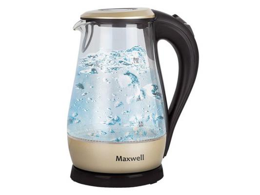 Чайник Maxwell MW-1041 GD 2200 Вт 1.7 л пластик/стекло чёрный прозрачный золотистый maxwell mw 3810 gd мультиварка скороварка