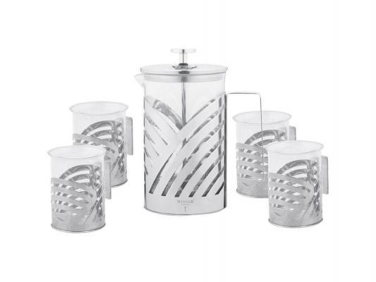 Чайный набор Winner WR-5204 0.8 л металл/стекло серебристый прозрачный
