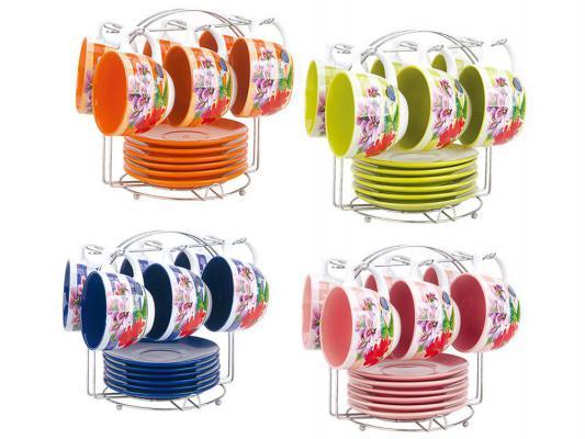 Чайный набор Bekker BK-6823 рисунок синий розовый зелёный оранжевый 0.220 л керамика