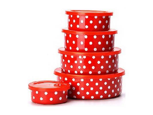 Набор эмалированных мисок Mayer&Boch 21524 10 предметов красный с рисунком набор посуды mayer
