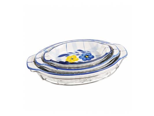 Набор блюд Bekker BK-7307 3 предмета белый с рисунком