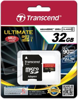 Карта памяти Micro SDHC 32Gb Class 10 Transcend TS32GUSDHC10U1 600x + адаптер SD картридер внешний transcend ts rdp8k cf mmc sd sdhc microsdhc msduo msmicro черный