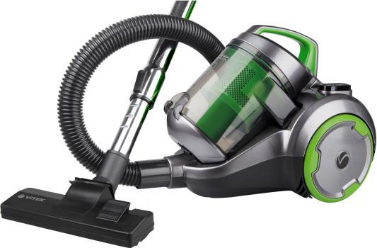 Пылесос Vitek VT-1894(G) без мешка сухая уборка 2000/400Вт серый/зеленый пылесос vitek vt 8130 bk сухая уборка зелёный чёрный
