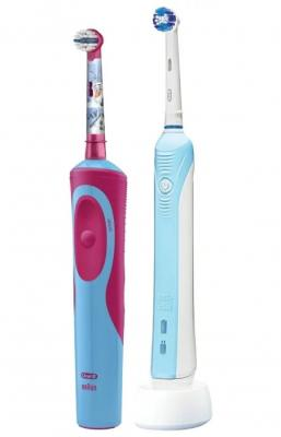 braun oral b crossaction Зубная щётка Braun Oral-B CrossAction Pro 500 бело-голубой + ORAL-B STAGES POWER FROZEN детская