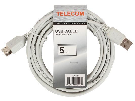 Кабель удлинительный USB 2.0 AM-AF 5.0м VCOM Telecom серый TC6936 6926123461907