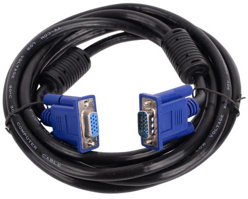 Кабель VGA 3м VCOM Telecom QCG342AD круглый черный кабель hdmi 3м vcom telecom vhd6260d 3m круглый черный