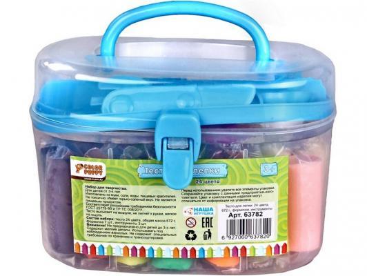 Тесто для лепки Color Puppy 24 цвета, 672г, формочки, инструменты в желтом или синем кейсе 63782 цена