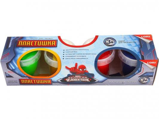 Тесто для лепки. Пластишка. Человек Паук 4 цв., 115 гр. LORI Тдд-002
