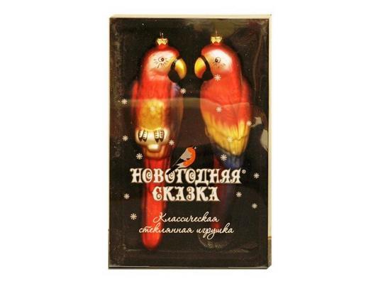 Елочные украшения Новогодняя сказка Попугай разноцветный 19 см 2 шт стелко 97714