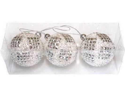 Набор шаров Новогодняя сказка 972176 белый 7 см 3 шт пенопласт