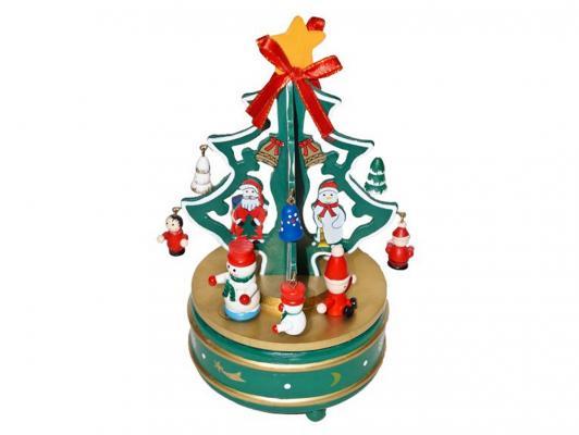 Ель Новогодняя сказка Карусель деревянная заводная музыкальная зеленый 20.5 см 97965