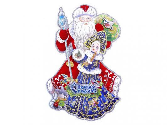 Панно бумажное Новогодняя сказка Дед Мороз со Снегурочкой 36х24 см 1 шт 972237 от 123.ru
