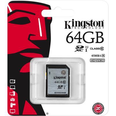 Карта памяти SDXC 64GB Class 10 Kingston SD10VG2/64GB карта памяти kingston 128gb sdhc class 10 sd10vg2 128gb sd10vg2 128gb