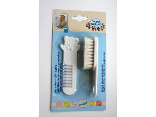 Купить Щетка Canpol натуральная и расческа белые 2/424, белый, Детские ножницы и расчески