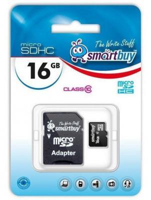 Фото - Карта памяти Micro SDHC 16GB Class 10 SmartBuy SB16GBSDCL10-01 + SD адаптер карта памяти smartbuy micro sd 256 гб