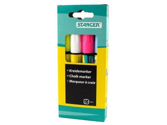 Набор маркеров Stanger 3 мм 4 шт голубой белый розовый желтый набор лаков lucky 3 шт голубой желтый зеленый