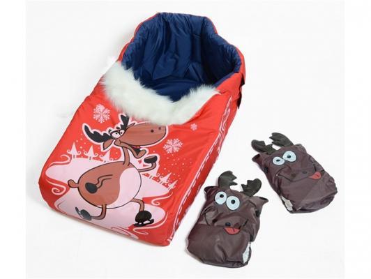 Купить Комплект для санок RT Новогодний олень красный, искусственный мех, Аксессуары для зимних игр